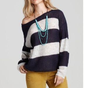 Free People Wide Stripe Oversized Mohair Sweater